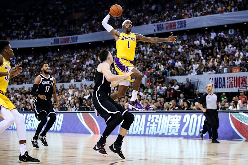 SHENZHEN, CHINA - OCTOBER 12: #1 Kentavious Caldwell-Pope of Los Angeles Lakers slam dunk during NBA China Games 2019 between Los Angeles Lakers and Brooklyn Nets at Shenzhen Universiade Center on October 12, 2019 in Shenzhen, China. NOTE TO USER: User expressly acknowledges and agrees that, by downloading and/or using this photograph, user is consenting to the terms and conditions of the Getty Images License Agreement. (Photo by Zhizhao Wu/Getty Images)