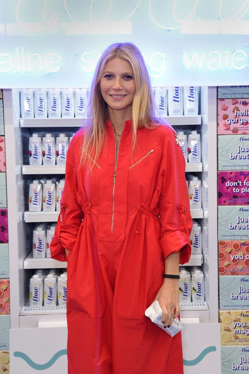 ANAHEIM, CALIFORNIA - MARCH 06: Gwyneth Paltrow tries out Flow Alkaline Spring Water's Latest Augmented Reality Grocery Experience at ExpoWest at Anaheim Convention Center on March 06, 2019 in Anaheim, California. (Photo by Presley Ann/Getty Images for Flow Alkaline Water)