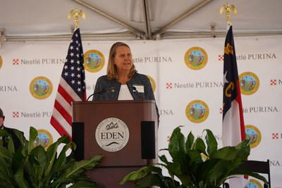 Nestlé Purina PetCare President Nina Leigh Krueger outlines plans for the company's 22nd U.S. manufacturing facility during an event in Eden, N.C. on Wednesday, September 30.