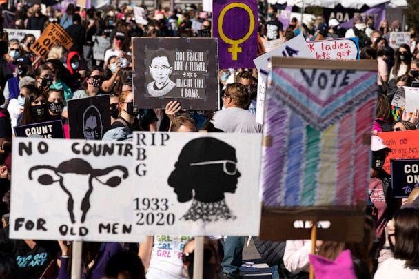 PHOTO: Demonstrators rally during the Women's March at Freedom Plaza, Oct. 17, 2020, in Washington. (Jose Luis Magana/AP)
