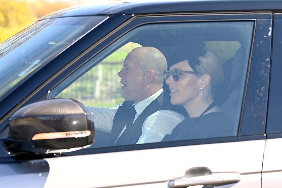 Mike Tindall and Zara Phillips arrive for the funeral service of Britain's Prince Philip