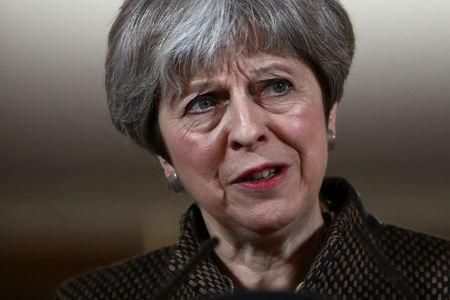 Britain's Prime Minister Theresa May attends a press conference in 10 Downing Street London