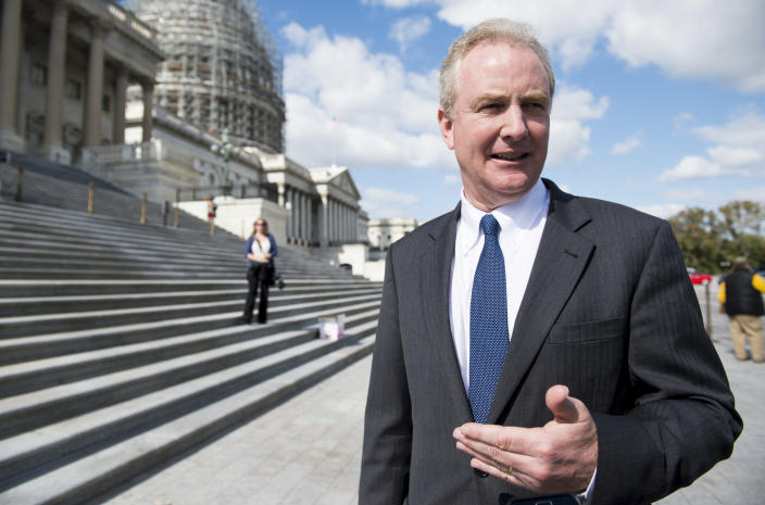 Chris Van Hollen, D-Md., speaks with a reporter at the House steps in 2015. (Photo: Bill Clark/CQ Roll Call/Getty Images)