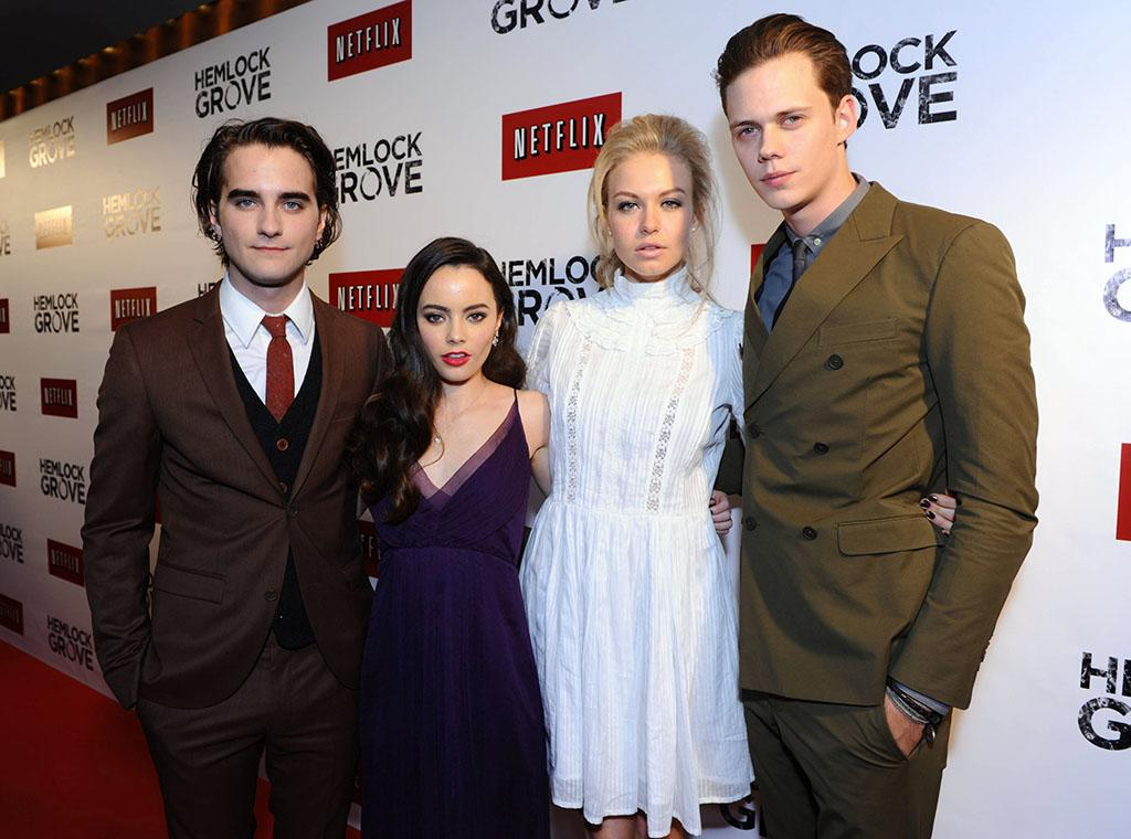 "Landon Liboiron, Freya Tingley, Penelope Mitchell, and Bill Skarsgard arrive at the ""Hemlock Grove"" North America premiere for Netflix on Tuesday April 16, 2013, in Toronto."