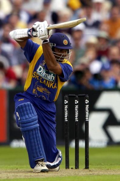 MANCHESTER - JULY 7:  Kumar Sangakkara of Sri Lanka hits out on his way to 70 during the England v Sri Lanka Natwest One day match at Edgbaston, Birmingham, England on July 7, 2002. (Photo by Tom Shaw/Getty Images)