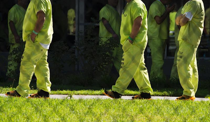 Prisoners at the Theo Lacy Facility are triaged according to risk, some in blocks with no individual cells, the most dangerous in cells that lead into a communal locked area (AFP Photo/Robyn Beck)