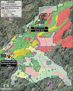 Troilus Property, Regional Geology and Location of the New Goldfield Zone