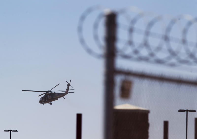 A helicopter believed to be carrying Homeland Security Secretary Janet Napolitano takes off from the Brian A. Terry Border Patrol Station outside in Bisbee, Ariz. on Friday, Oct. 5, 2012. A preliminary investigation has found friendly fire likely was to blame in the shootings of two border agents along the Arizona-Mexico border, the FBI said Friday. (AP Photo/The Arizona Republic, David Wallace)  MARICOPA COUNTY OUT; MAGS OUT; NO SALES