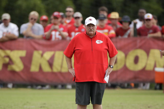 Kansas City Chiefs head coach Andy Reid watches a drill during NFL football training camp Friday, Aug. 2, 2019, in St. Joseph, Mo. (AP Photo/Charlie Riedel)