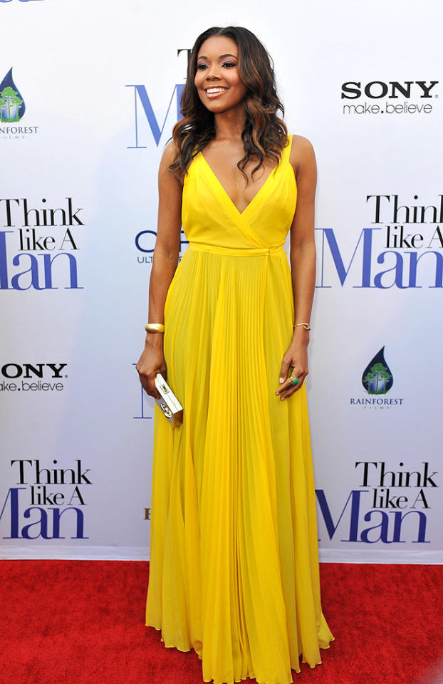 "Gabrielle Union looked better than ever upon arriving at the Atlanta premiere of <a target=""_blank"" href=""http://movies.yahoo.com/movie/think-like-a-man/"">""Think Like a Man""</a> in a canary-colored Bill Blass gown, which featured a plunging V-neck and pleated skirt. The effortlessly gorgeous big screen star accessorized with a boxy Judith Leiber clutch, Caleo jewelry, and shiny lip gloss. (4/3/2012)"