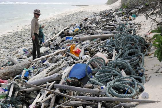 Dr Jennifer Lavers during the survey which revealed 238 tonnes of plastic was littered across the beaches of the Cocos (Keeling) Islands (Dr Jennifer Lavers)