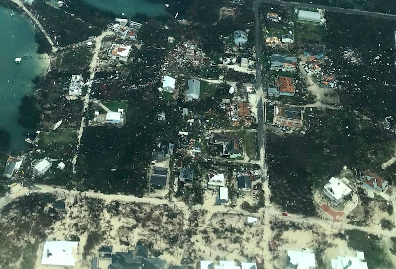 In this handout aerial photo provided by the HeadKnowles Foundation, damage is seen from Hurricane Dorian on Abaco Island on Sept. 3, 2019 in the Bahamas.