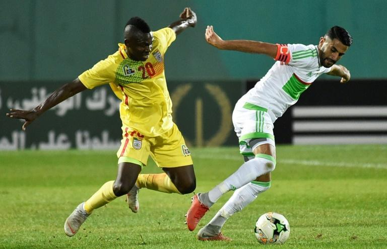 Manchester City star Riyad Mahrez (R) captained Algeria to a 2021 Africa Cup of Nations qualifying victory over Zimbabwe Thursday