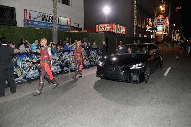 Chadwick Boseman arrives in style to the Black Panther Film Premiere on January 29, 2018 in Los Angeles, California.ema