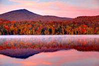 """<p>This quaint Vermont town has earned a reputation for impeccable ski slopes, but during the fall season, miles of forest dressed in reds and oranges blanket the mountainsides. The best way to see the foliage is to take a gondola ride over the gorgeous Green Mountains. While in the Connecticut River Valley region, explore the art galleries and quirky shops of neighboring Woodstock and pick a few apples along the way at scenic orchards. <br><em><br>Where to Stay: <a href=""""https://www.ontheriverwoodstock.com/"""" rel=""""nofollow noopener"""" target=""""_blank"""" data-ylk=""""slk:506 On the River Inn"""" class=""""link rapid-noclick-resp"""">506 On the River Inn</a> in Woodstock, Vermont</em></p>"""