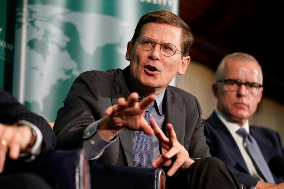 Former CIA acting director Michael Morell speaks during a forum on election security at the National Press Club in Washington, on October 30, 2019.   (Joshua Roberts/Reuters)