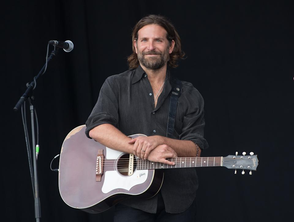 Bradley Cooper performed on the Pyramid Stage at Glastonbury for 'A Star is Born' on June 23, 2017. (Photo by Samir Hussein/Samir Hussein/Redferns)