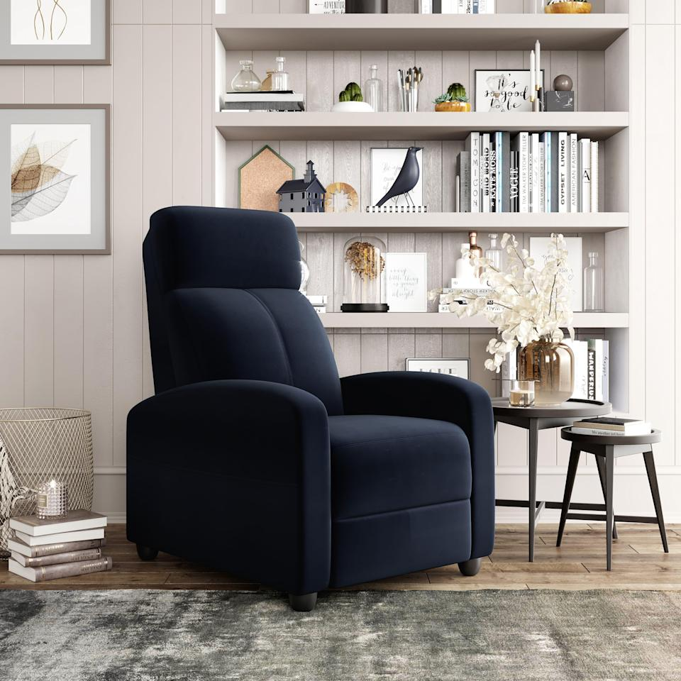 """<br><br><strong>Lifestyle Solutions</strong> Relax A Lounger Aspen Recliner, $, available at <a href=""""https://go.skimresources.com/?id=30283X879131&url=https%3A%2F%2Fwww.walmart.com%2Fip%2FRelax-A-Lounger-Aspen-Recliner-Black-Microfiber%2F127424567"""" rel=""""nofollow noopener"""" target=""""_blank"""" data-ylk=""""slk:Walmart"""" class=""""link rapid-noclick-resp"""">Walmart</a>"""