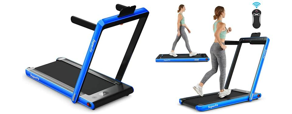 inbody costway 2-in-1 Electric Motorized Health and Fitness Folding Treadmill with Dual Display and Bluetooth Speaker_