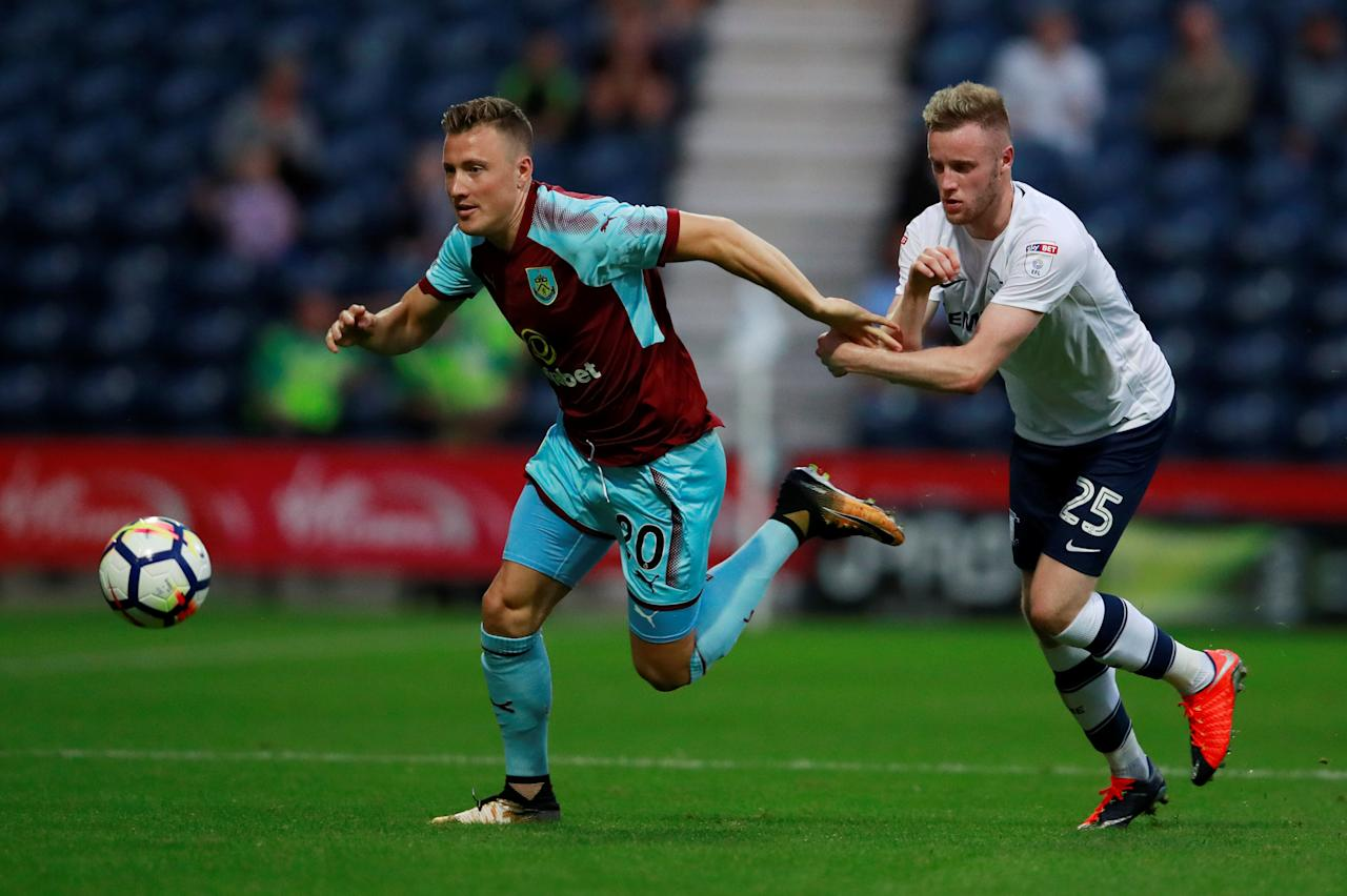 Soccer Football - Preston North End vs Burnley - Pre Season Friendly - Preston, Britain - July 25, 2017   Burnley's Fredrik Ulvestad in action with Preston's Kevin O'Connor     Action Images via Reuters/Jason Cairnduff