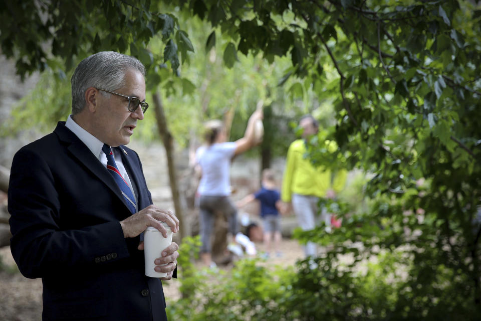 District attorney Larry Krasner talks to volunteers before they canvas around the Fairmount neighborhood in Philadelphia, on Sunday, May 16, 2021. Voters will cast ballots Tuesday, May 18 in the Democratic Primary for Philadelphia District Attorney that pits reform-minded incumbent Krasner against veteran homicide prosecutor Carlos Vega, likely deciding the future of the office in the overwhelmingly Democratic city. (David Maialetti/The Philadelphia Inquirer via AP)