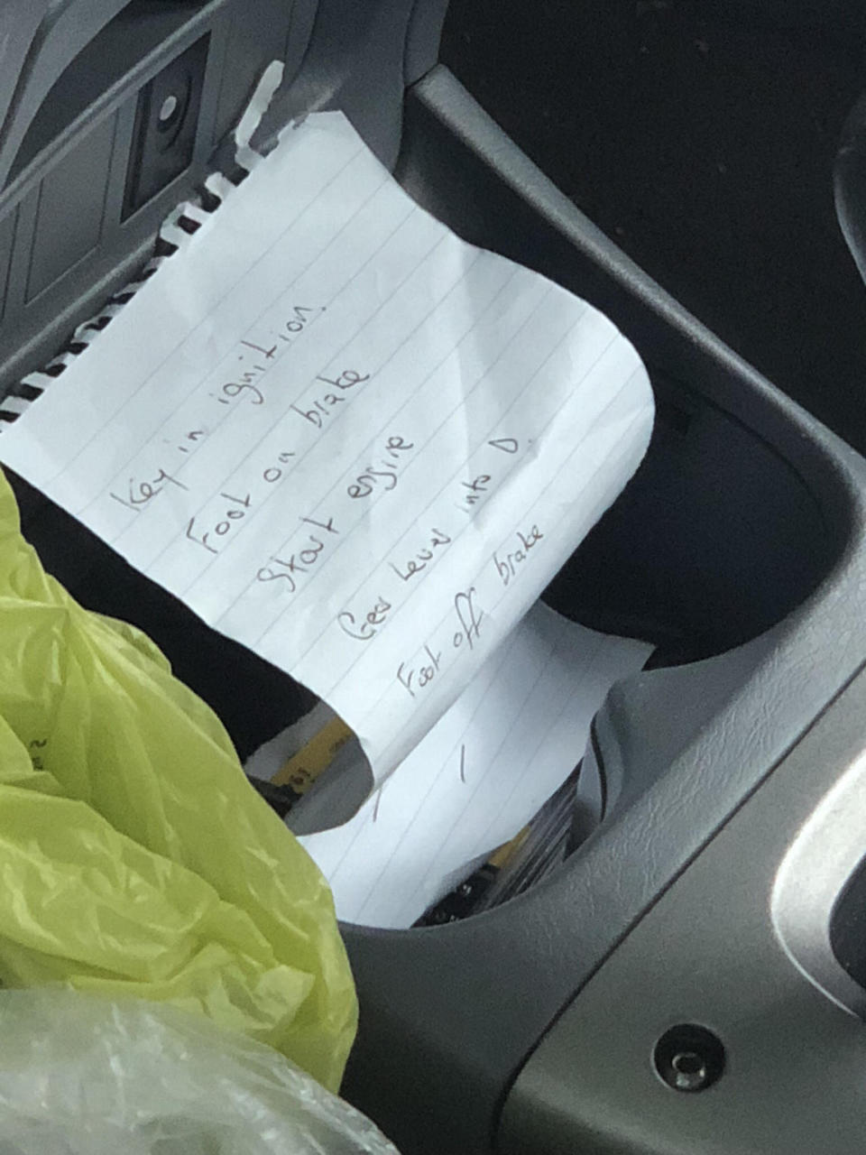 The note has basic instructions on driving (SWNS)
