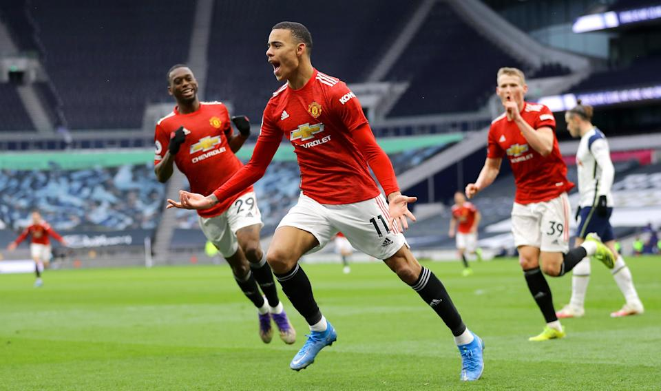 Mason Greenwood celebrates after scoring United's third (Getty)
