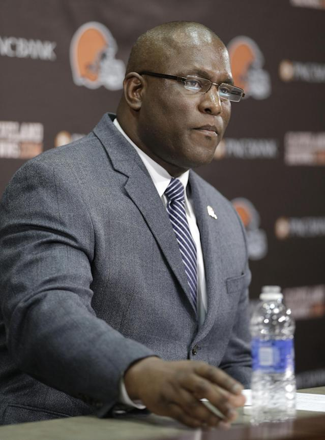 Cleveland Browns general manager Ray Farmer answers questions during a news-conference Tuesday, Feb. 11, 2014, in Berea, Ohio. Farmer, who was pursued by Miami to be the Dolphins' GM this winter, has been promoted and will immediately take the over the team's football operations and lead the Browns during free agency and draft. Cleveland has two first-round picks in May's draft and is well under the salary cap to spend on free agents. (AP Photo/Tony Dejak)