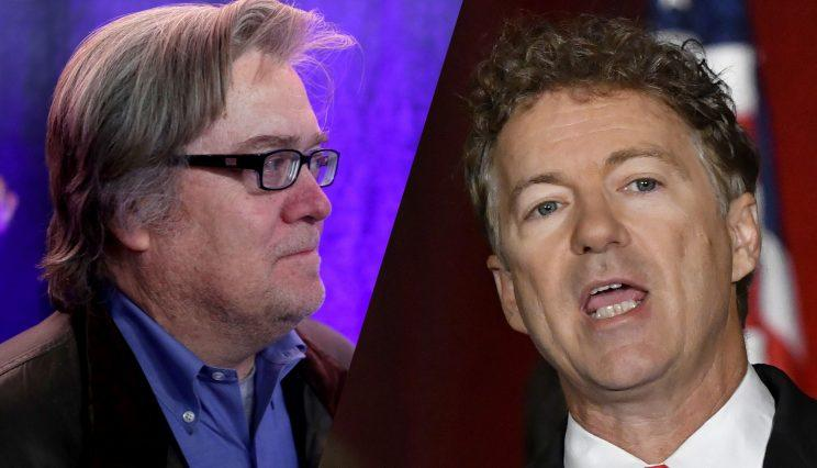 Steve Bannon, left, and Sen. Rand Paul, R-Ky. (Photos: Chip Somodevilla/Getty Images, Timothy D. Easley/AP)