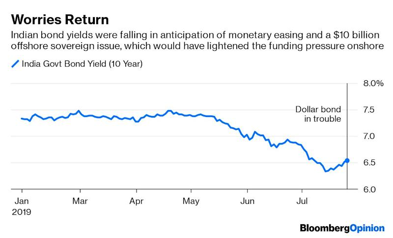 (Bloomberg Opinion) -- An abrupt reshuffle at thetop of India's finance bureaucracy makes it unlikely that the country's inaugural issue of a controversial sovereign bond overseas will happen now. It's just as well.Borrowing in a foreign currency, possibly dollars,would have set back New Delhi's attempt todrum up more global interest in rupee debt. An unexpected meeting of minds formedbetween Prime Minister Narendra Modi's core Hindu nationalist supporters and his more internationalist critics to put the bond's future in question.Finance Secretary Subhash Chandra Garg was presumably the author –and is now the fall guy – of the foreign-debt adventure. In an unusual move for a senior Indian civil servant, herequestedretirement after he was marched off to the power ministry. That's enough for investors to speculate that the governmentwants to back off –as indeed it should.Now that $10 billion in subscription checkswon't be coming in October, the domestic Indian bond market will feelthe pressure of higher borrowings locally by the government. There's a way to ease it, though: masala bonds, or rupee debt sold overseas to global investors.India hasdeliberately eschewedforeign-currency sovereign borrowing and instead turnedto its diaspora to tide over the occasional hard-currency shortage in the past.Thatwas a prudent choice. Unlikeexport-ledEast Asian countries that routinely save more than they invest, India's private sectorhas a chronic dependence on foreign money, particularly to pay forenergy needs. But as long as the governmentonly borrowed locally, any risk of a 1980s Latin American-style blowup because of externally financed twin deficits was kept at bay.The government's suddenU-turn on that long-held consensus, driven by poor growth and depleting fiscal resources, has now backfired.Nationalists saw a dollar bondas subjugatingIndia's interests to a globalorder they deeply mistrust. Internationalist technocrats, led by former Reserve Bank of India GovernorRaghuram R
