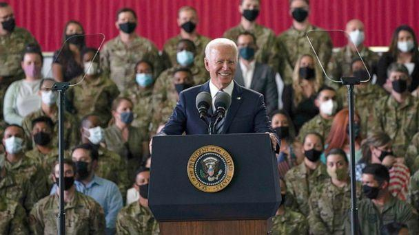 PHOTO: President Joe Biden addresses US Air Force personnel at RAF Mildenhall in Suffolk, ahead of the G7 summit in Cornwall, June 9, 2021 in Mildenhall, England. (Joe Giddens/WPA Pool/Getty Images)