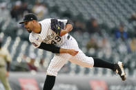 Colorado Rockies starting pitcher Antonio Senzatela works against the San Diego Padres during the first inning of a baseball game Tuesday, May 11, 2021, in Denver. (AP Photo/David Zalubowski)