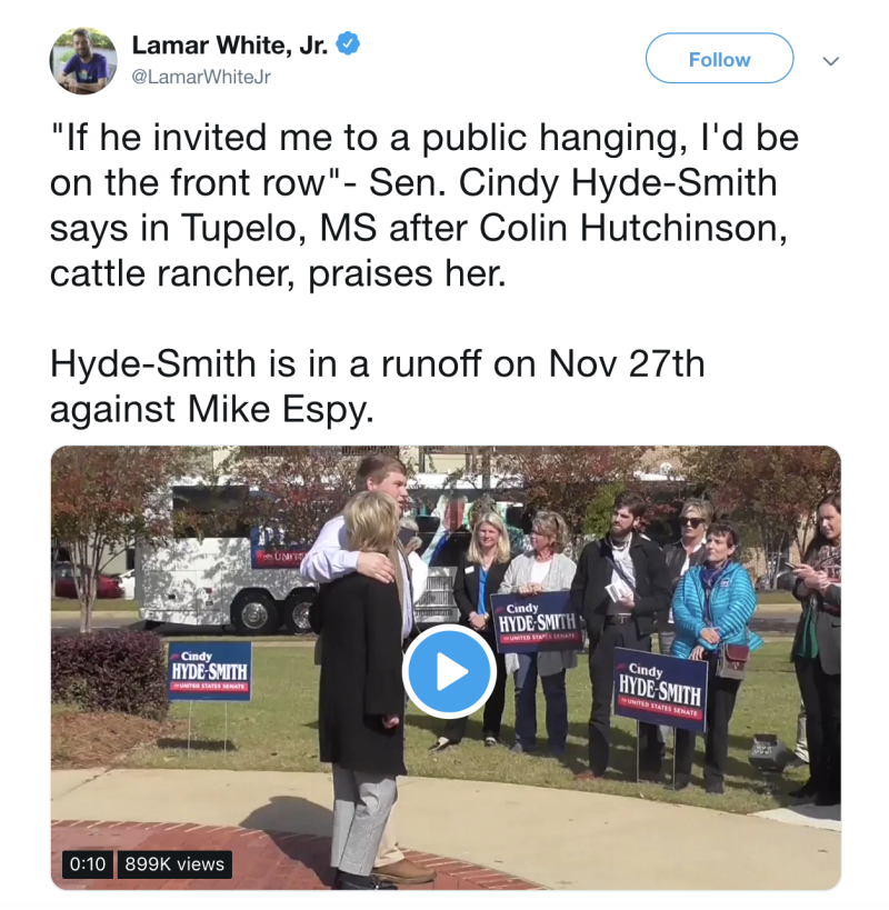 MS  senator praises man with 'public hanging' remark