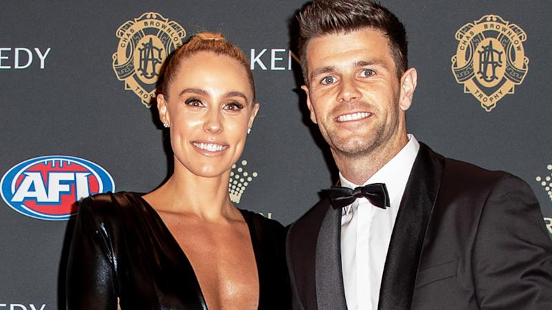 Brooke and Trent Cotchin are pictured at the 2019 AFL Brownlow Medal presentation.