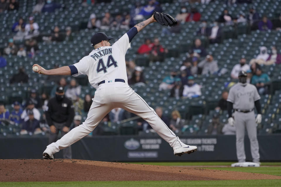 Seattle Mariners starting pitcher James Paxton throws to a Chicago White Sox batter during the first inning of a baseball game Tuesday, April 6, 2021, in Seattle. (AP Photo/Ted S. Warren)