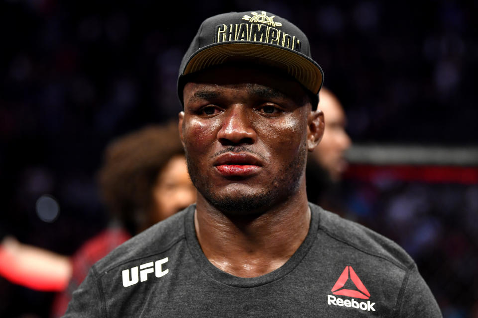 LAS VEGAS, NEVADA - DECEMBER 14:  Kamaru Usman of Nigeria awaits the decision following his bout during the UFC 245 event at T-Mobile Arena on December 14, 2019 in Las Vegas, Nevada. (Photo by Jeff Bottari/Zuffa LLC via Getty Images)