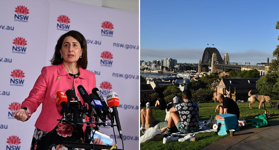 Over the weekend, NSW Premier Gladys Berejiklian announced restrictions would ease for LGAs of concern. Source: AAP