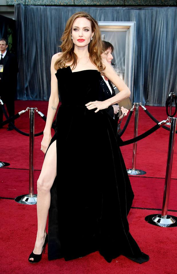 "<p>After Jolie posed in her side-slit gown at the Oscars, people began photoshopping her right leg onto other images-ultimately leading to the notorious ""Angie's right leg"" meme. Jolie <a rel=""nofollow"" href=""https://www.yahoo.com/entertainment/blogs/movie-news/angelina-jolie-right-leg-meme-two-years-later-064105051.html"">didn't comment at the time</a>, but later went on to say, ""I honestly didn't pay attention to it. I don't watch those TV shows and if I go online and see something about myself, I don't click on it. And the people I surround myself with don't really talk about that kind of stuff,"" she said. ""I heard something, but I didn't pay any attention. It's as simple as being a woman picking a dress you like and having a night, and not really thinking about anything else."" </p>"
