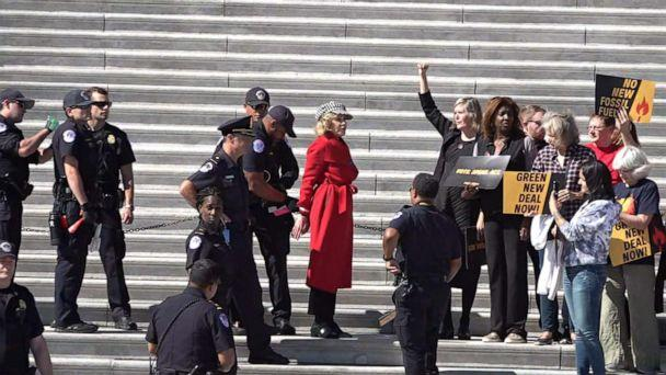 PHOTO: Jane Fonda is arrested while participating in climate change protest at the U.S. Capitol, Oct. 11, 2019, in Washington, D.C. (ABC)