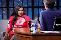 <p>Mindy Kaling makes a guest appearance on <em>Late Night with Seth Meyers</em> on July 22 in N.Y.C.</p>