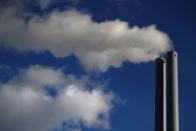 FILE PHOTO: General view of smoke coming from a chimney of an energy plant in Dublin
