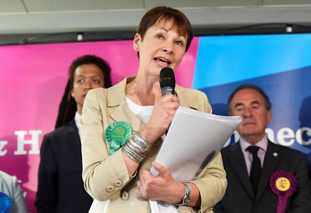 <p>Caroline Lucas, co-leader of Britain's Green Party, speaks after retaining her seat in the general election, in Brighton, June 9, 2017. (Photo: Adam Holt/Reuters) </p>