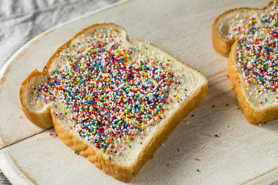 White bread with butter and sprinkles
