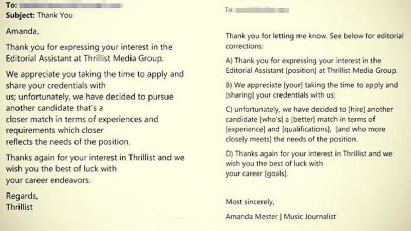 Woman Returns Job Rejection Email With Corrections