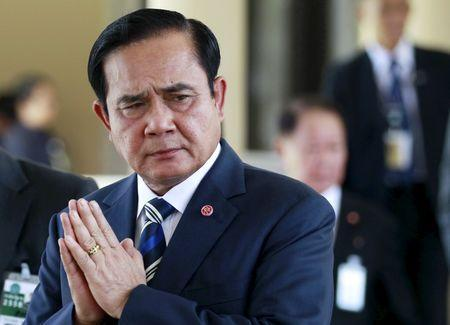 Thailand's Prime Minister Prayuth Chan-ocha gestures after presiding over Thailand Corporate Excellence Award for Financial Management at the Government House in Bangkok, Thailand, September 9, 2015. REUTERS/Chaiwat Subprasom