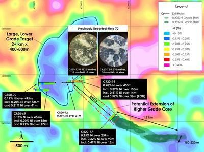 Figure 1 – West Zone Discovery Holes and Main Zone Nickel Resource over top of gravity gradient (Crawford Township airborne gravimetric survey completed in 2018), Crawford Nickel-Cobalt Sulphide Project, Ontario. (CNW Group/Canada Nickel Company Inc.)