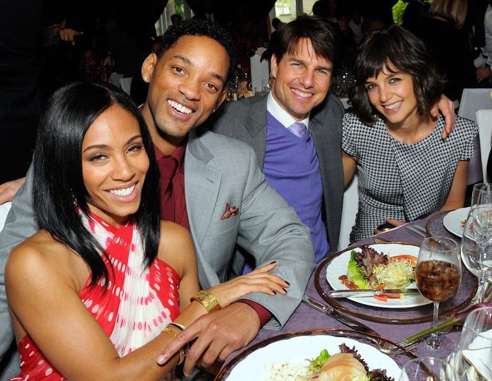 """<div class=""""inline-image__caption""""><p>Jada Pinkett Smith, Will Smith, Tom Cruise and Katie Holmes pose at a luncheon at the Beverly Hills Hotel on February 21, 2008, in Beverly Hills, California.</p></div> <div class=""""inline-image__credit"""">Charley Gallay/Getty</div>"""