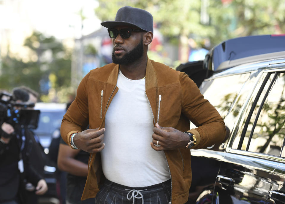 LeBron James promises to keep not sticking to sports in a trailer that nods to Bill Russell, Kareem Abdul-Jabbar and Kyrie Irving. (AP)