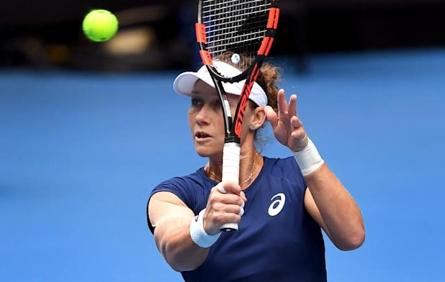 Sam Stosur of Australia, pictured in 2017, is out in Nottingham (AFP Photo/WILLIAM WEST)