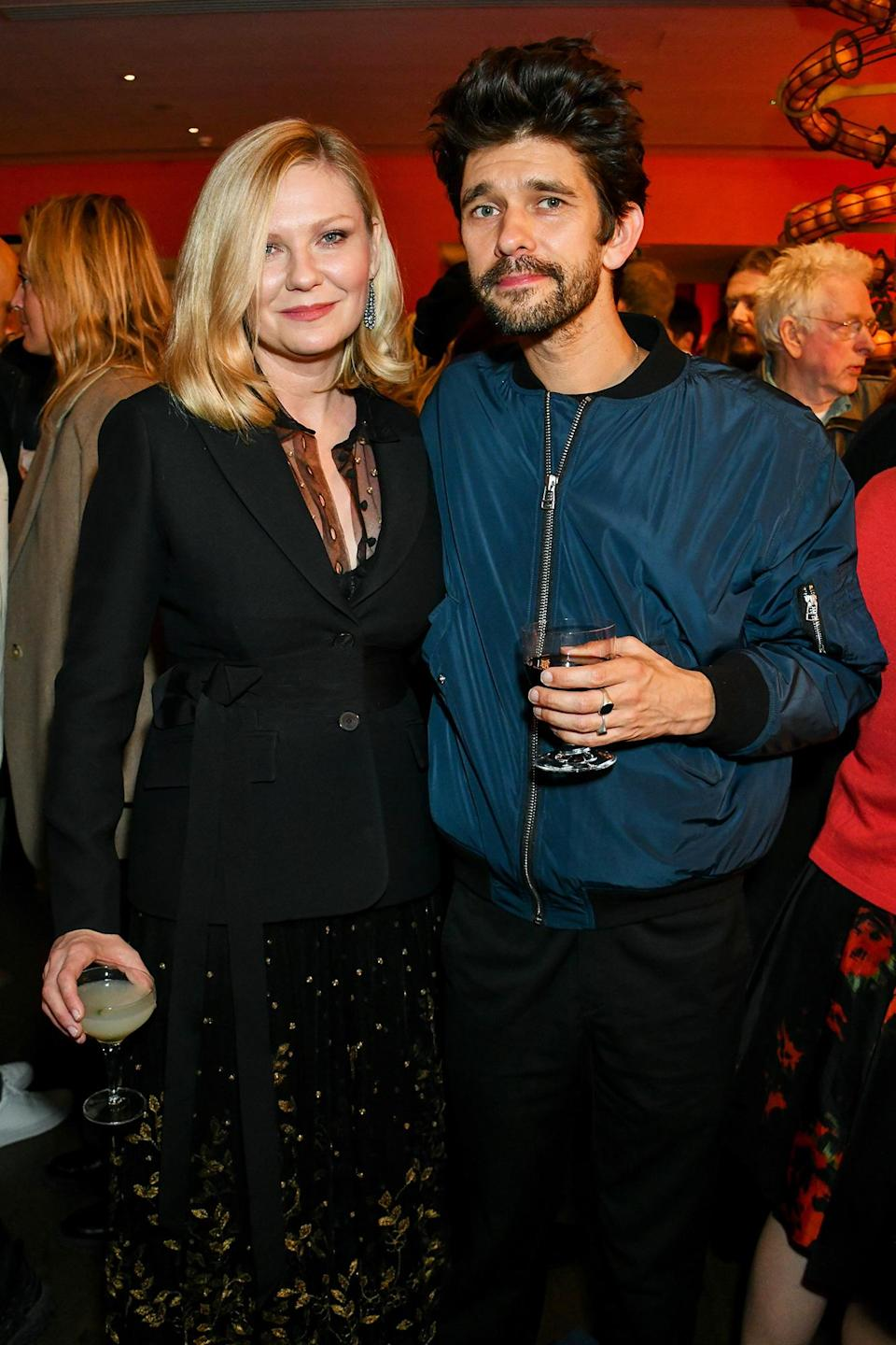 <p>Kirsten Dunst and Ben Whitshaw pose together at a screening for <i>The Power of the Dog</i> during the BFI London Film Festival on Oct. 12 in London. </p>
